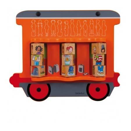 Jeu mural Train : Puzzle de cubes enfants